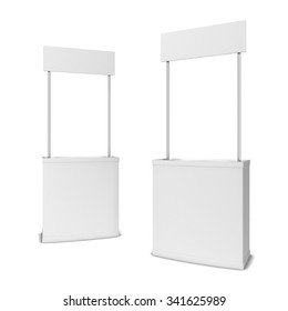Two promotion counters. 3d illustration isolated on white background