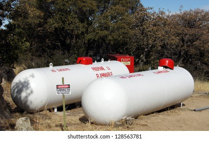 Two propane storage tanks