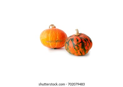 Two pumpkins on a white background