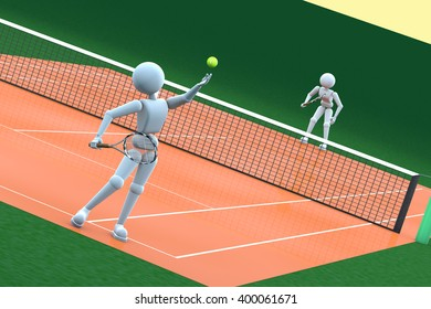 two puppet white human play on the tennis court render 3D illustration