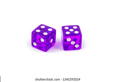 Two purple glass dice isolated on white background. Four and five.
