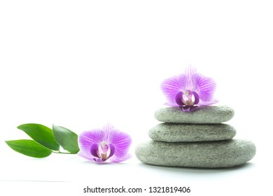 Two purple orchid blossoms - one on top of a pile of three white roundstones and the other next to it with three green leaves - text space