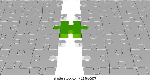 Two puzzle parts connected with green jigsaw piece, concept particular person