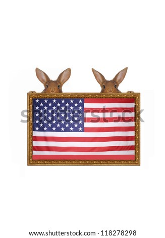 9ab04605fa7 Two Rabbits Against American Flag Stock Photo (Edit Now) 118278298 ...