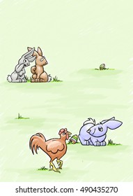 Two rabbits speculate that the Easter Bunny lays colorful eggs to impress the rooster.