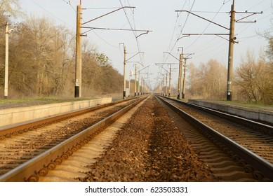 Two railway tracks with platforms for landing passengers, on the sides are visible pillars-supports for electric wires