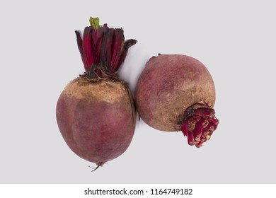 Two raw beetroot bulbs. White isolated background.