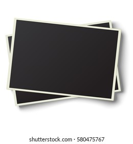Two realistic retro photo frames with straight edges placed one over another and slightly tilted on white background. Template photo design.