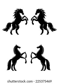 Two rearing up horses silhouettes in black for heraldry design