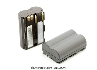 Two rechargeable camera accumulators, isolated on white