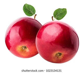 Two red apple with gree leaf isolated on white background. Clipping Path.
