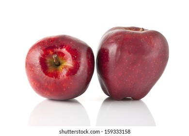 Two red apples on white background
