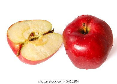 Two red apples one sliced and one whole.  Check more apples in my portfolio