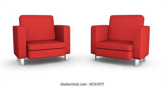 Two red armchairs; high quality 3D rendered image.