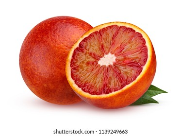Two red blood orange with leaves isolated on white background with shadow. Citrus. Tropical fruit.