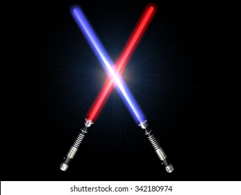 two red and blue 3d light future swords fight with glow