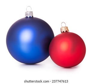 two red blue Christmas balls Isolated on white background