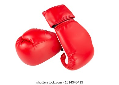 two red boxing glove isolated in white background