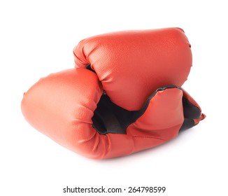 Two red boxing gloves composition isolated over the white background