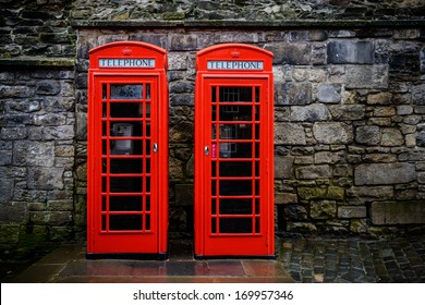Two red British telephone boxes
