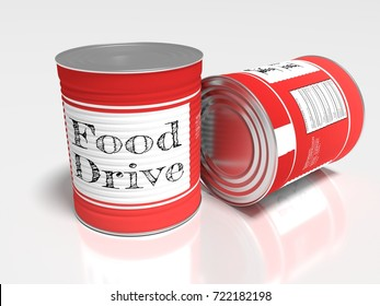 Two red cans on white with a label showing food drive charity 3D illustration