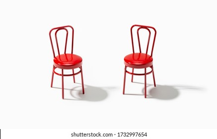 Two red chairs isolated on white background. Support or assistance concept.
