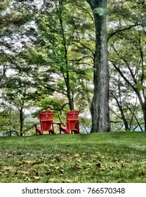 Two red chairs for a relaxing moment