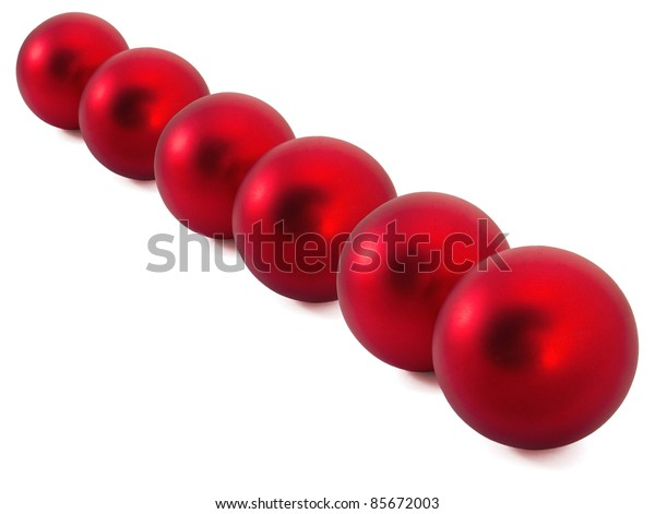 Two red christmas balls on the white background
