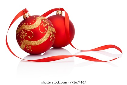 Two red Christmas decoration bauble with ribbon isolated on white background