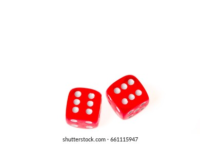 Two red dice both showing a six, isolated against a white background