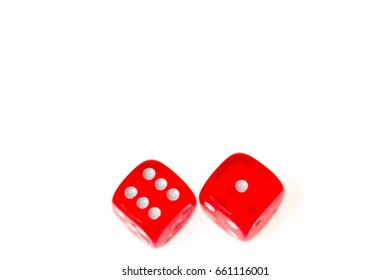 Two red dice showing a six and a one isolated on a white background.