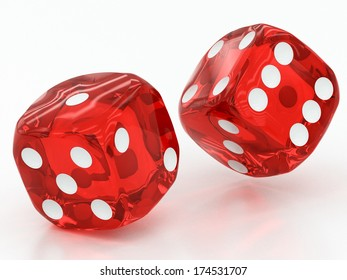 two red dices falling on a white background