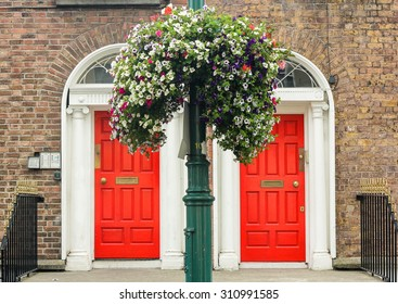 Two red doors, in Dublin, Ireland