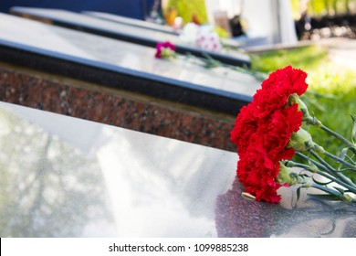 two red flowers lie on the brown marble of the monument
