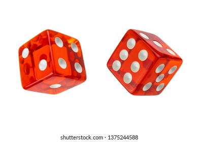 Two red glass dices isolated on white. One, two, four and three, five, six.