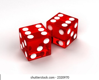 Two red glass dices rendered on the white background