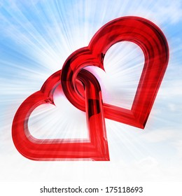two red glassy heart together in sky flare illustration