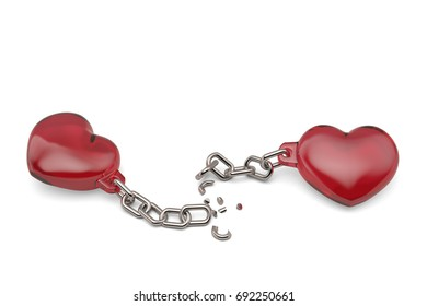Two red hearts with broken chains on white background.3D illustration.