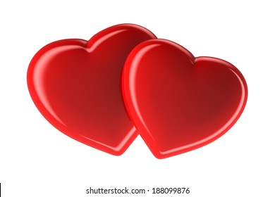 Two red hearts isolated on white, 3d rendered image
