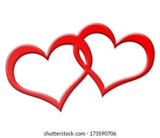 two red hearts joined together