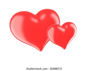 Two red hearts on a white background.