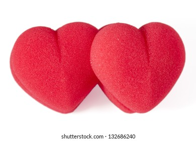 Two red hearts on white-background