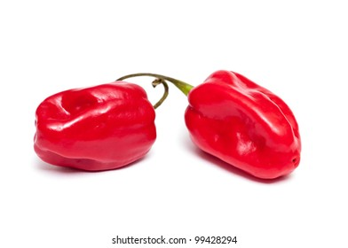 Two red hot habanero peppers on a white background