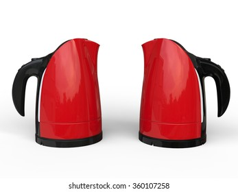 Two red kettles - side by side
