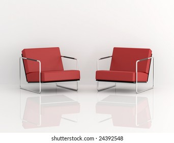 two red modern armchair isolated on white - digital artwork