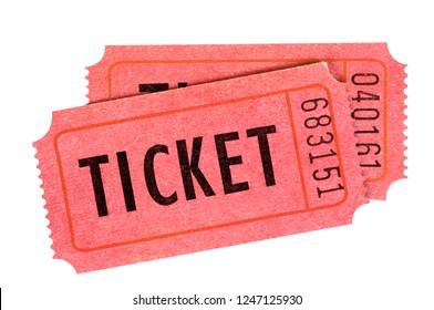 Two red movie or raffle tickets isolated