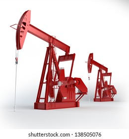 Two Red Oil pumps. Oil industry equipment.