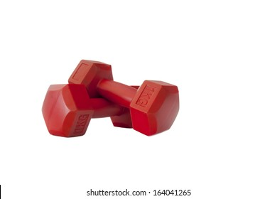 Two red plastic coated dumbells isolated on white