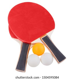 two red rackets for table tennis and three balls, on a white background, isolate
