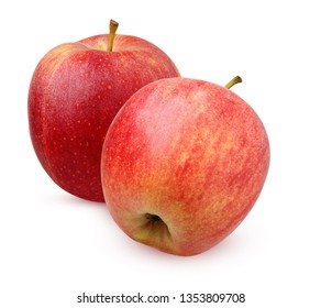 two red striped Apple isolated on white background.  whole fruit.